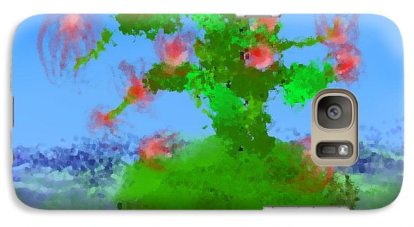 Galaxy Case featuring the digital art Pink Birds Ongreen Island by Dr Loifer Vladimir