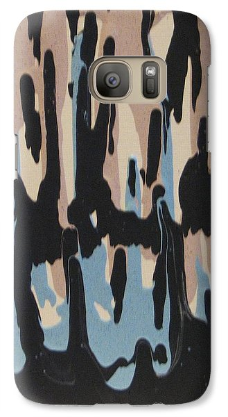 Galaxy Case featuring the painting Pink Blue And Brown Drips by Barbara Yearty