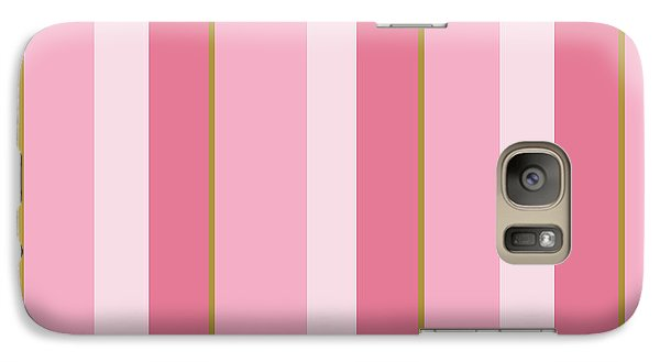 Galaxy S7 Case featuring the mixed media Pink Blush Stripe Pattern by Christina Rollo