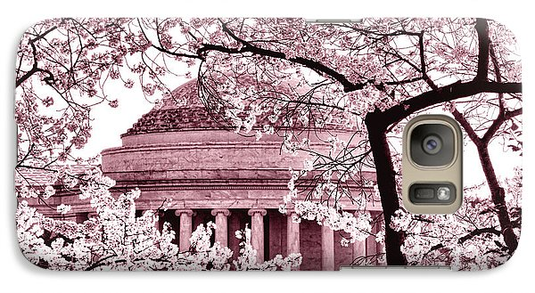 Pink Cherry Trees At The Jefferson Memorial Galaxy S7 Case by Olivier Le Queinec