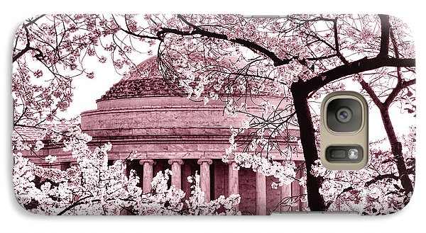Pink Cherry Trees At The Jefferson Memorial Galaxy Case by Olivier Le Queinec