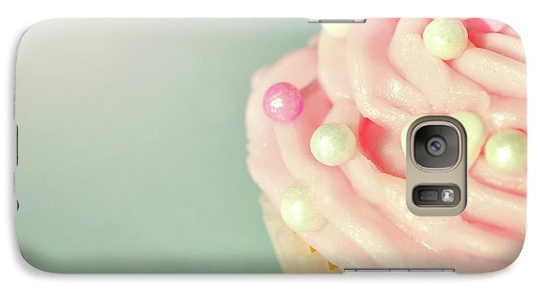Galaxy Case featuring the photograph Pink Cupcake With Lovehearts by Lyn Randle