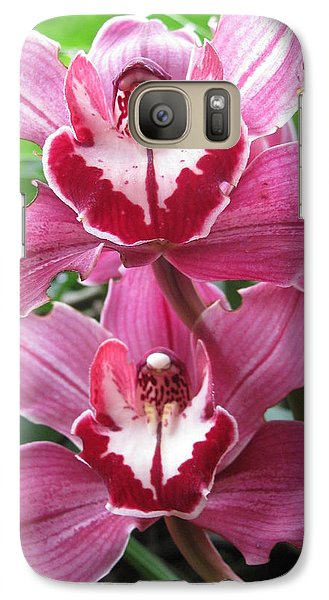 Galaxy Case featuring the photograph Pink Cymbidium Orchids by Alfred Ng