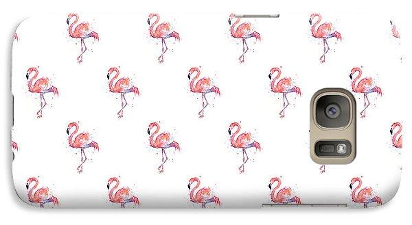Pink Flamingo Watercolor Pattern Galaxy S7 Case