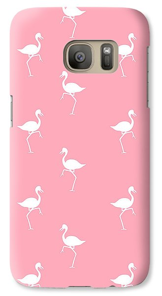 Pink Flamingos Pattern Galaxy Case by Christina Rollo