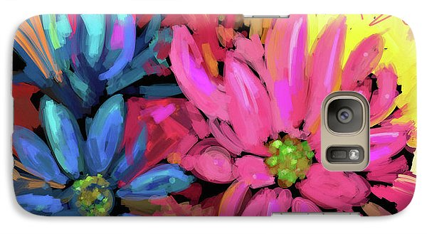 Galaxy Case featuring the painting Pink Flower by DC Langer