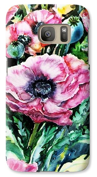 Galaxy Case featuring the painting Pink Garden Poppies  by Trudi Doyle