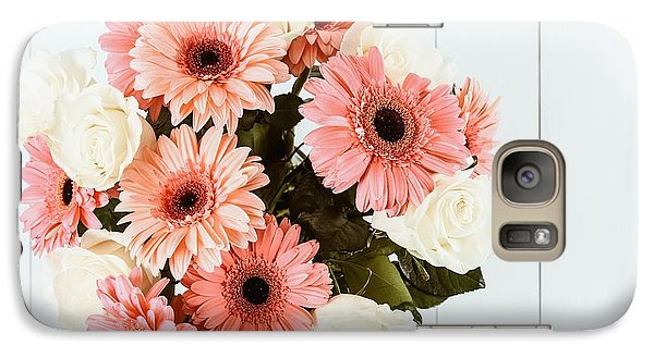 Pink Gerbera Daisy Flowers And White Roses Bouquet Galaxy S7 Case by Radu Bercan