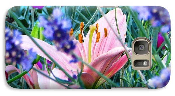 Galaxy Case featuring the photograph Pink Lily In The Lavender by Judyann Matthews