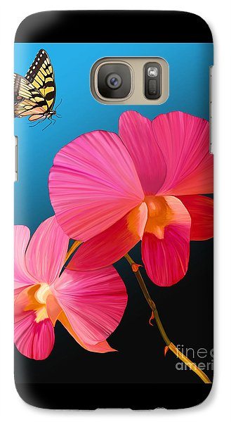 Galaxy Case featuring the painting Pink Lux Butterfly by Rand Herron
