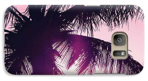 Galaxy Case featuring the photograph Pink Palm Tree Silhouettes Kihei Tropical Nights by Sharon Mau