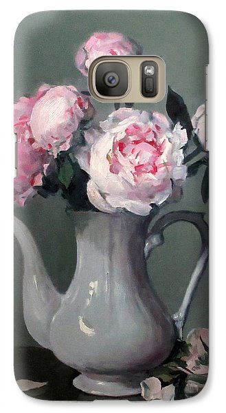 Pink Peonies In White Coffeepot Galaxy S7 Case