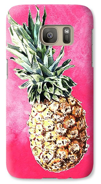 Pink Pineapple Bright Fruit Still Life Healthy Living Yoga Inspiration Tropical Island Kawaii Cute Galaxy S7 Case by Laura Row