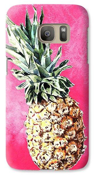 Pink Pineapple Bright Fruit Still Life Healthy Living Yoga Inspiration Tropical Island Kawaii Cute Galaxy Case by Laura Row