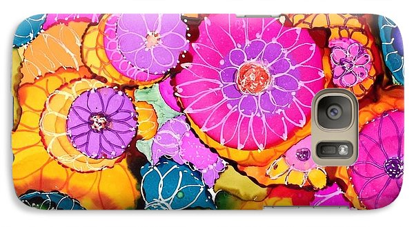 Galaxy Case featuring the painting Pink Pinwheel Flowers by Suzanne Canner