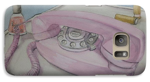 Galaxy Case featuring the painting Pink Retro 1960 Telephone by Kelly Mills