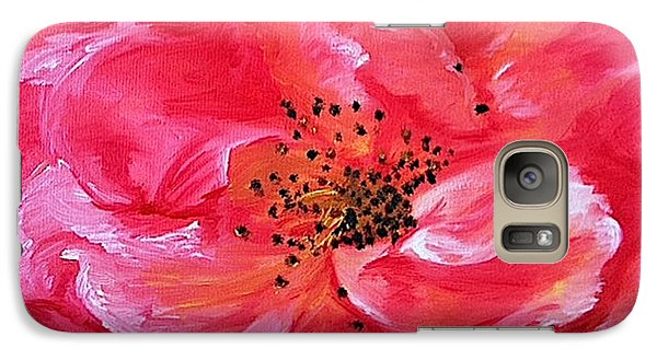 Galaxy Case featuring the painting Pink Rose by Sheron Petrie