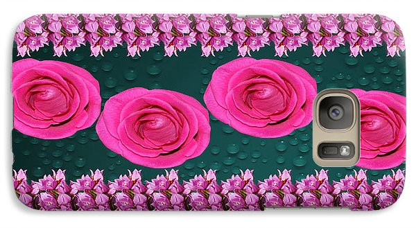Galaxy Case featuring the photograph Pink Roses Floral Display by Gary Crockett