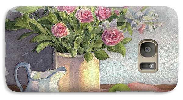 Galaxy Case featuring the painting Pink Roses by Vikki Bouffard