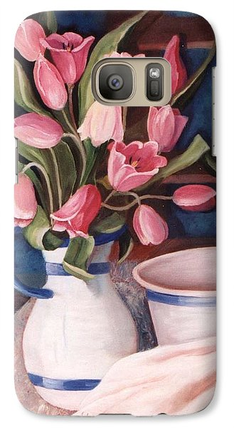 Galaxy Case featuring the painting Pink Tulips by Renate Nadi Wesley