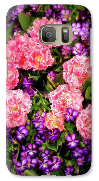 Galaxy Case featuring the photograph Pink Tulips With Purple Flowers by James Steele