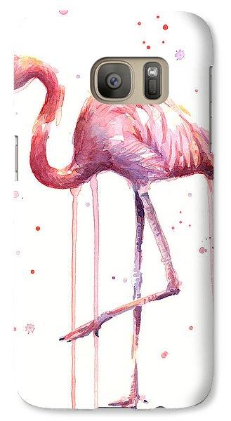 Pink Watercolor Flamingo Galaxy S7 Case