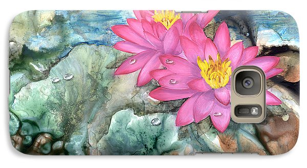 Galaxy Case featuring the painting Pink Waterlily by Sherry Shipley