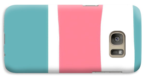 Galaxy Case featuring the painting Pink White Blue 2 by Bonnie Bruno