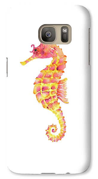 Pink Yellow Seahorse - Square Galaxy Case by Amy Kirkpatrick