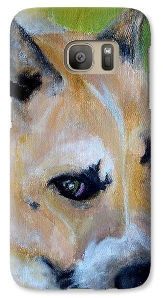 Galaxy Case featuring the painting Pit Bull- Eve by Laura  Grisham