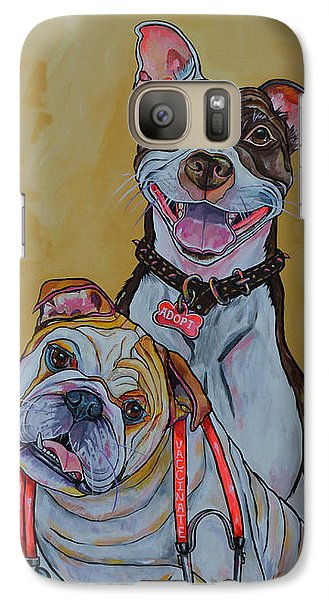 Galaxy Case featuring the painting Pitbull And Bulldog by Patti Schermerhorn