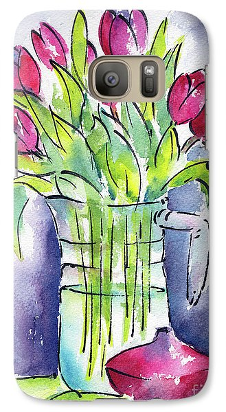 Galaxy Case featuring the painting Pitcher Of Tulips by Pat Katz