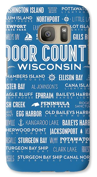 Places Of Door County On Blue Galaxy S7 Case