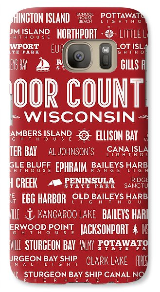 Places Of Door County On Red Galaxy Case by Christopher Arndt