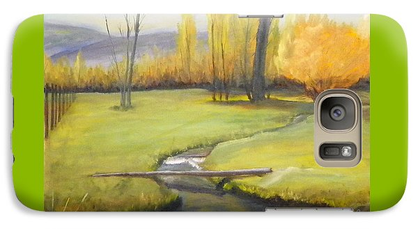 Galaxy Case featuring the painting Placid Stream In Field by Sherril Porter