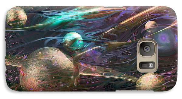 Galaxy Case featuring the digital art Planetary Chaos by Linda Sannuti
