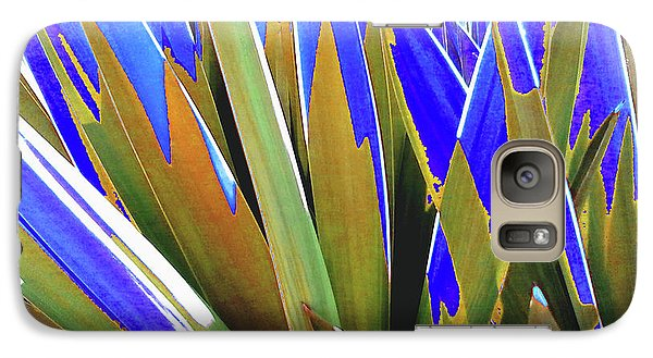 Galaxy Case featuring the photograph Plant Burst - Blue by Rebecca Harman