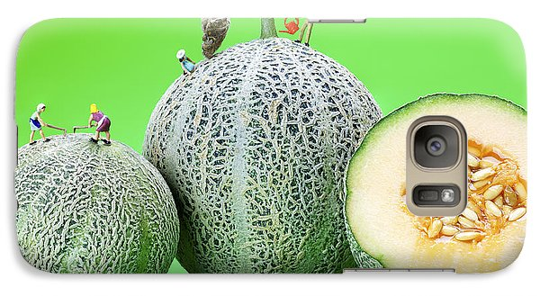 Galaxy Case featuring the photograph Planting Cantaloupe Melons Little People On Food by Paul Ge