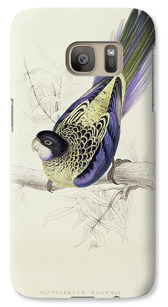 Platycercus Brownii, Or Browns Parakeet Galaxy S7 Case by Edward Lear