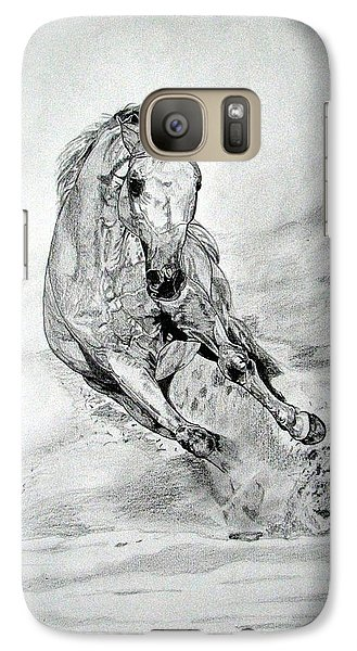 Galaxy Case featuring the drawing Playfull by Melita Safran