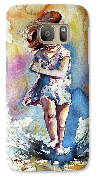 Galaxy Case featuring the painting Playing Girl by Kovacs Anna Brigitta