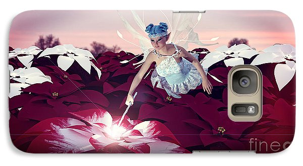 Galaxy Case featuring the digital art Poinsettia Snow Fairy by Methune Hively