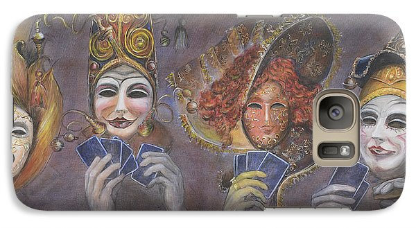 Galaxy Case featuring the painting Poker Game Faces by Nik Helbig