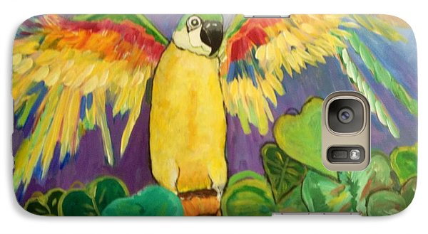 Galaxy Case featuring the painting Polly Wants More Than A Cracker by Rosemary Aubut