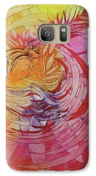 Galaxy Case featuring the drawing Polynesian Warrior by Marat Essex