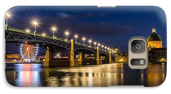 Galaxy Case featuring the photograph Pont Saint-pierre With Street Lanterns At Night by Semmick Photo