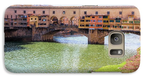 Galaxy Case featuring the photograph Ponte Vecchio Florence Italy II Painterly by Joan Carroll