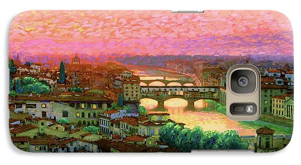 Peach Galaxy S7 Case - Ponte Vecchio Sunset Florence by Jane Small