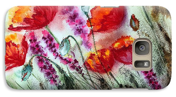 Galaxy Case featuring the painting Poppies In The Wind by Maria Barry