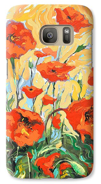 Galaxy Case featuring the painting Poppies On A Yellow            by Dmitry Spiros